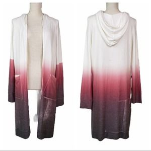 Go Couture Hacci Ombre Hooded Long Line Sweater